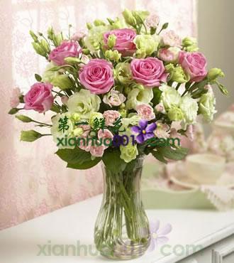 鲜花:粉红甜心 9枝紫玫洋桔梗