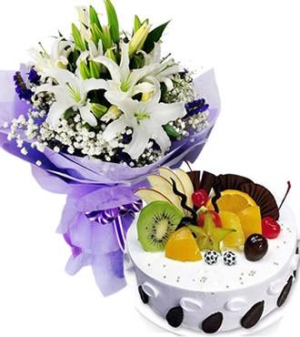 鲜花蛋糕:浓浓祝福 5枝百合
