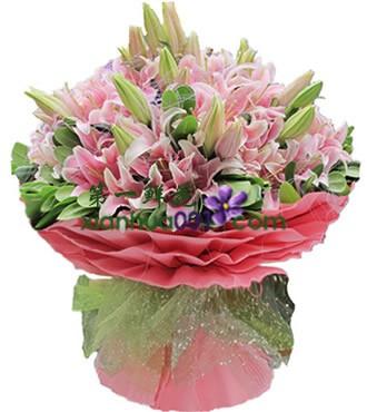 鲜花:一世情缘 33枝粉百合