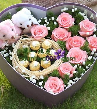 鲜花:有你的甜蜜 9枝玫瑰