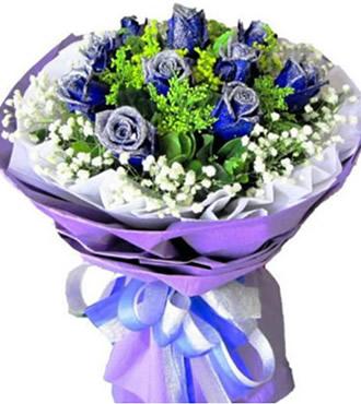 鲜花:蓝色爱情海 10枝蓝玫