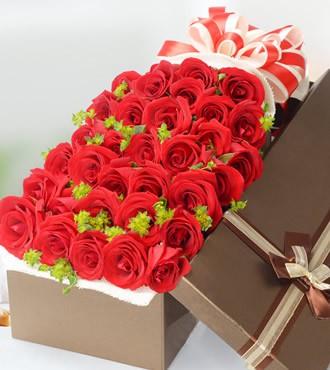 鲜花:真爱 33枝红玫瑰  顺丰直送
