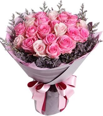 鲜花:粉红佳人 29枝粉玫瑰