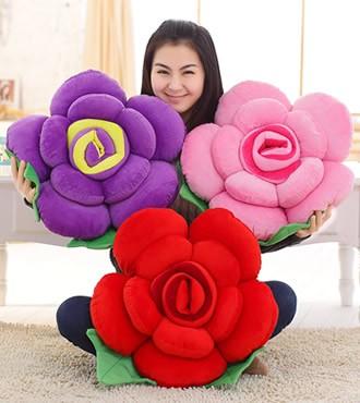 玫瑰花毛绒玩具公仔抱枕靠垫