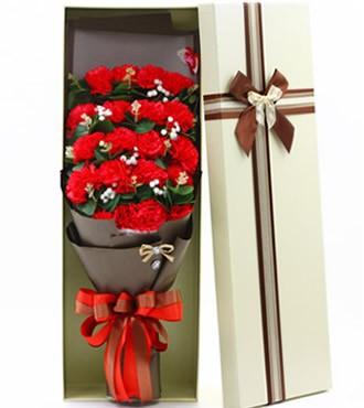 19枝康乃馨香皂花礼盒(快递)