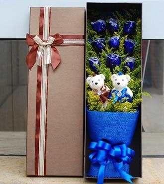 鲜花:长长久久 9枝蓝玫瑰