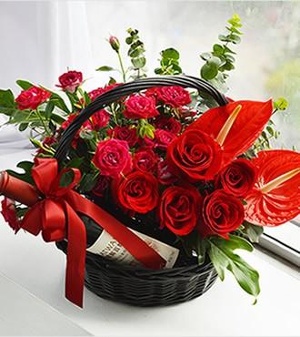 花篮:永不褪色的爱 11枝红玫瑰