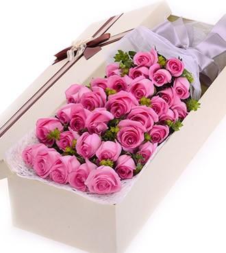 鲜花:和青春跳舞 33枝粉玫瑰