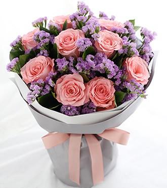 鲜花:无悔的选择 9枝粉玫瑰