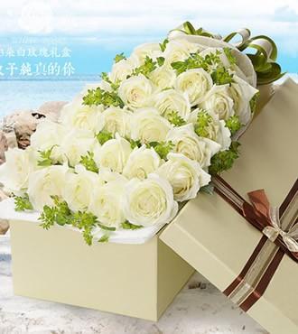 鲜花:致爱 33枝白玫瑰