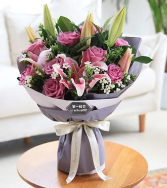 鲜花:幸福跟着你 11枝紫玫瑰