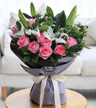 鲜花:独一无二 11枝粉玫瑰