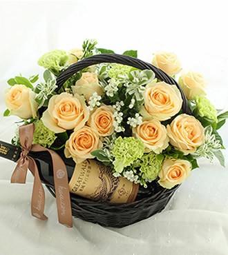 花篮:常相伴 香槟玫瑰