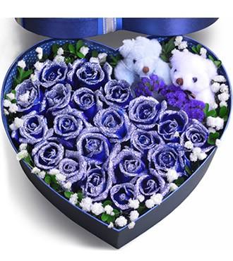 鲜花:挚爱万年 19枝蓝玫瑰