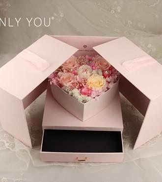 保鲜花:双开心形礼盒