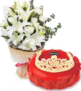 玫瑰女王(哈根达斯)白百合