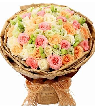 鲜花:心灵的港湾 33枝混搭玫