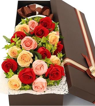 鲜花:永远珍惜 19枝混搭玫瑰