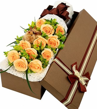 鲜花:海枯石烂 11枝香槟玫瑰
