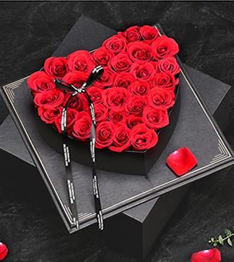 鲜花:一颗真心 33枝红玫瑰