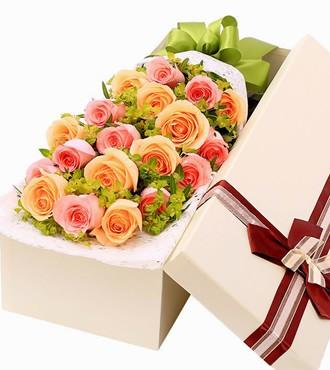 鲜花:爱入佳境 19枝双色玫瑰