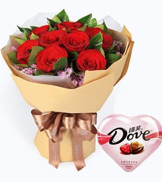 鲜花:一心一意 11枝红玫