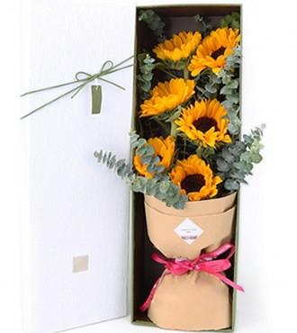 鲜花:手捧幸福 6枝向日葵