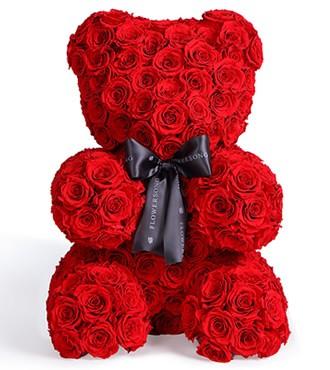 保鲜花:「倾世之爱」永生玫瑰熊
