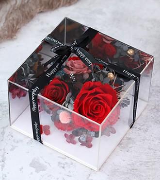 保鲜花:镜面方形礼盒玫瑰