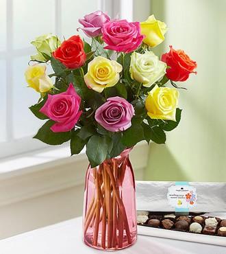 鲜花:七彩天空 12枝玫瑰