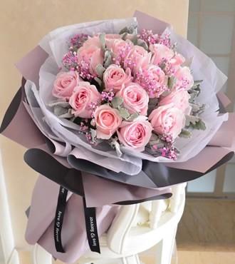鲜花:爱的承诺 21枝粉玫瑰
