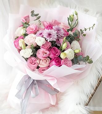 鲜花:气质佳人 18枝粉玫瑰