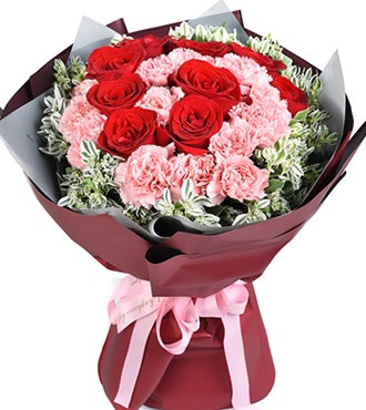 鲜花:你的笑脸 9枝红玫瑰