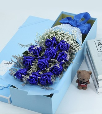 鲜花:动情时刻 111枝蓝玫瑰