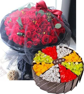 鲜花蛋糕:情暖心间 99枝红玫