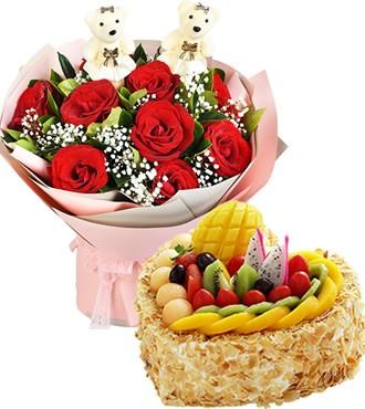鲜花蛋糕组合:爱你一生一世