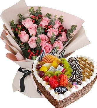 鲜花蛋糕:心动的感觉 11枝粉玫瑰
