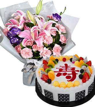 鲜花蛋糕组合:福寿安康 19枝