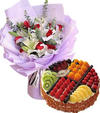 鲜花蛋糕:生日祝福 9枝红玫瑰
