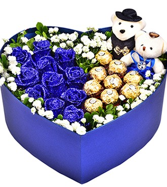 鲜花:你的眼眸 11枝蓝玫瑰