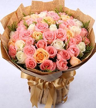 鲜花:阳光问候 50枝混色