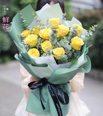 鲜花:感恩有你 11枝黄玫瑰