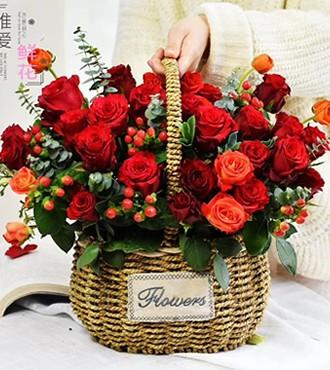 花篮:幸福微笑 33枝粉玫瑰