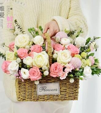 花篮:绽放的季节 22枝粉玫瑰