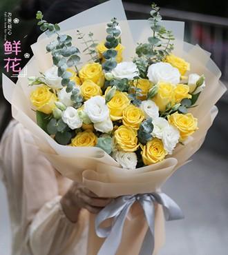 鲜花:真诚的歉意 18枝黄玫瑰