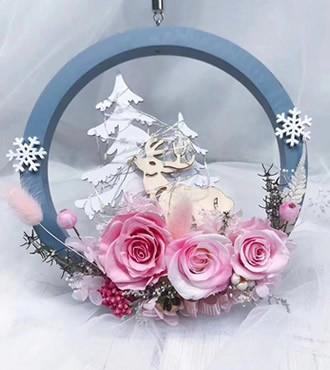 永生花:圣诞节花环