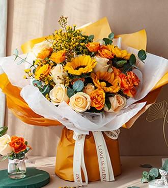 鲜花:一路向阳 混搭花束