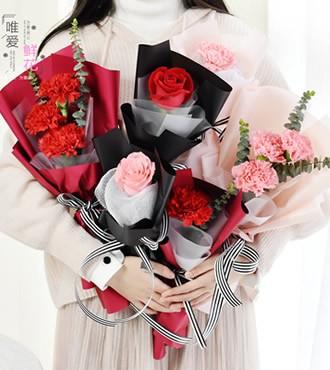 鲜花:单支玫瑰康乃馨 10束起订