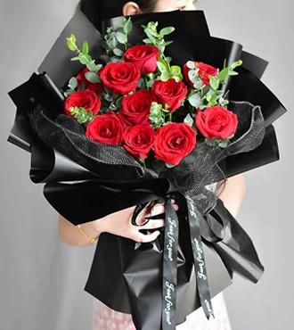 鲜花:遇见你真好 11枝红玫瑰
