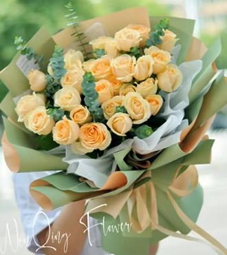 鲜花:甜蜜香槟缘 36枝香槟玫